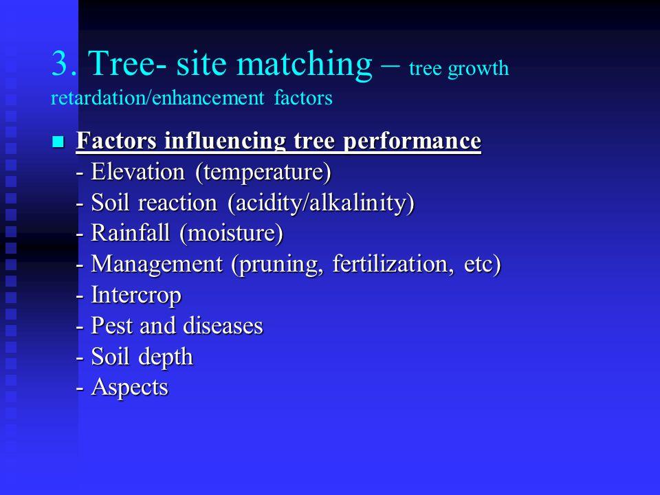 3. Tree- site matching – tree growth retardation/enhancement factors Factors influencing tree performance Factors influencing tree performance - Eleva