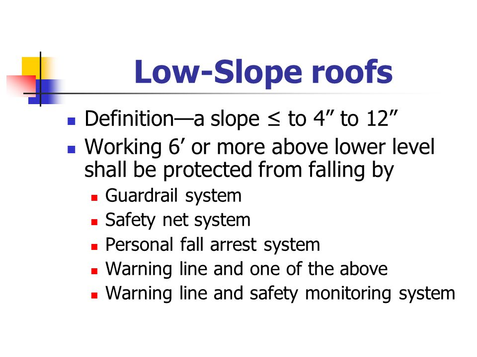 """Low-Slope roofs Definition—a slope ≤ to 4"""" to 12"""" Working 6' or more above lower level shall be protected from falling by Guardrail system Safety net"""