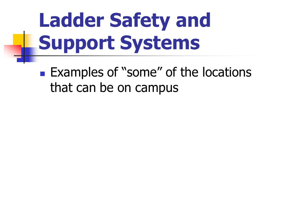 """Ladder Safety and Support Systems Examples of """"some"""" of the locations that can be on campus"""