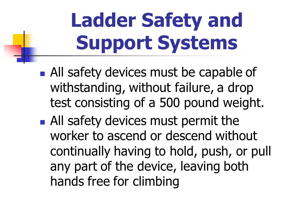 Ladder Safety and Support Systems All safety devices must be capable of withstanding, without failure, a drop test consisting of a 500 pound weight. A