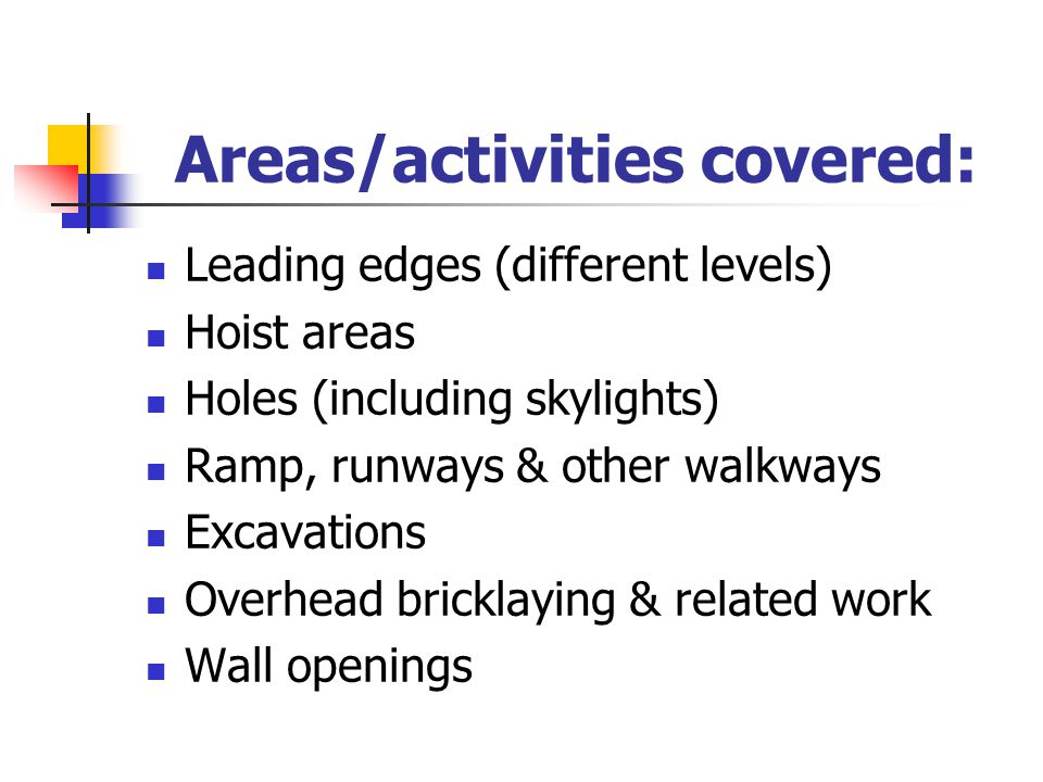 Areas/activities covered: Roofing Walking/Working surfaces not otherwise addressed