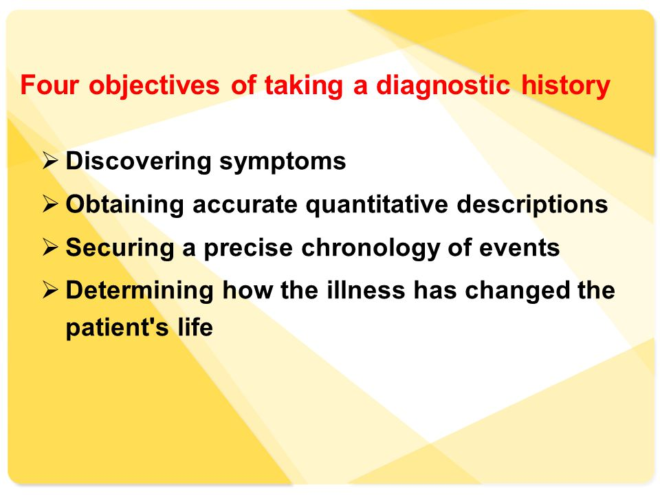 Four objectives of taking a diagnostic history  Discovering symptoms  Obtaining accurate quantitative descriptions  Securing a precise chronology of events  Determining how the illness has changed the patient s life