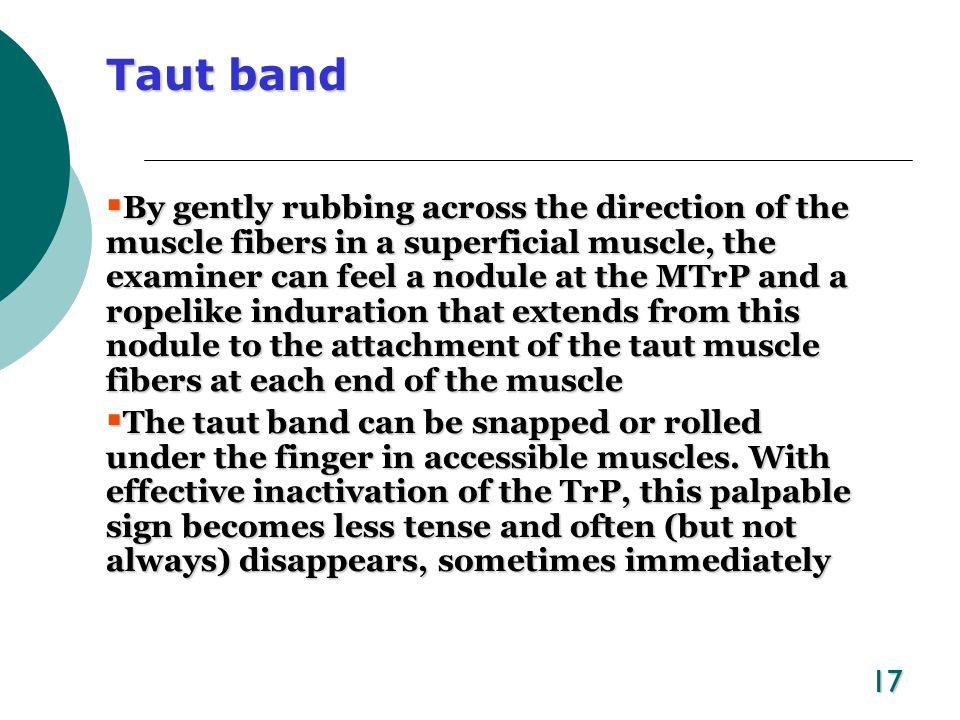18 Tender nodule  Palpation along the taut band reveals a nodule exhibiting a highly localized and exquisitely tender spot that is characteristic of a MTrP.