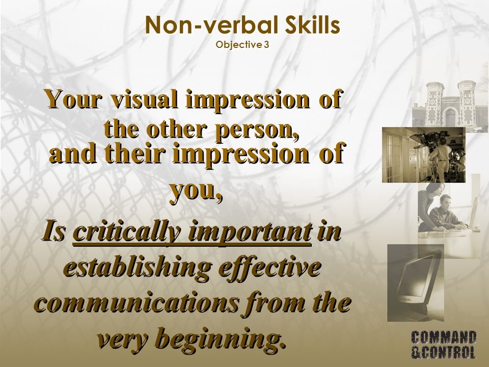 Non-verbal Skills Objective 3 Your visual impression of the other person, and their impression of you, Is critically important in establishing effecti