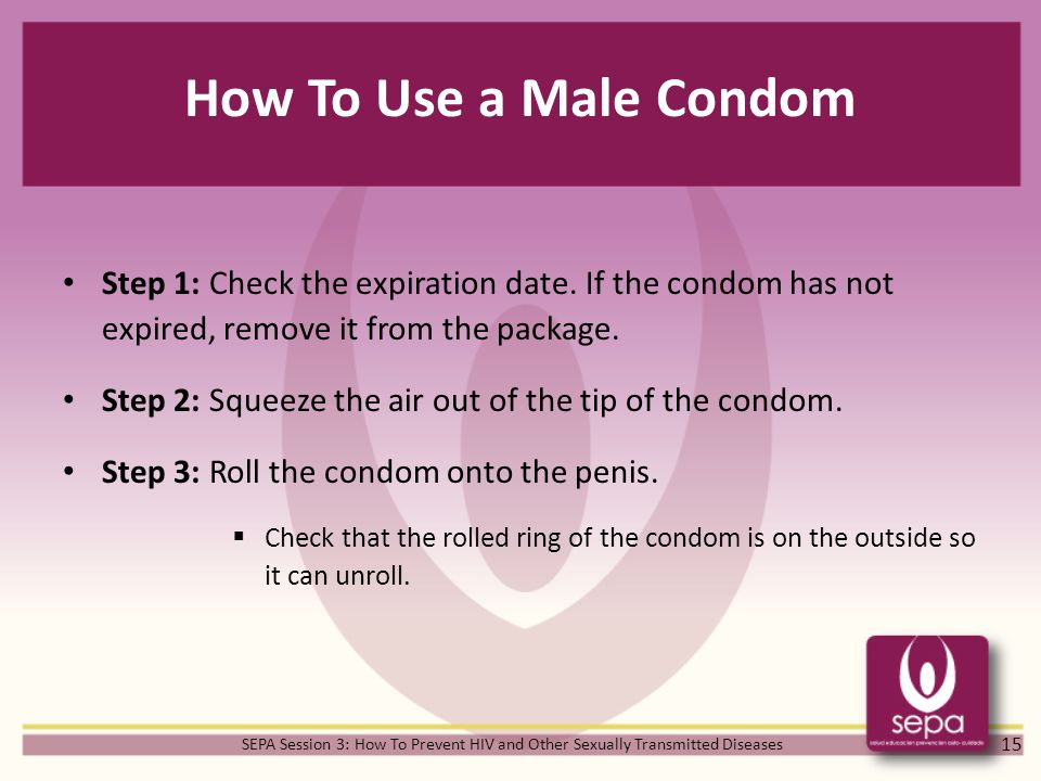 How To Use a Male Condom Step 1: Check the expiration date.