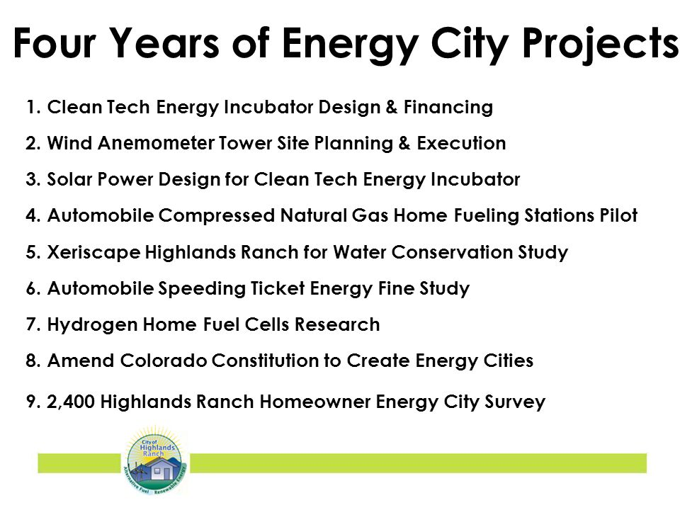 1. Clean Tech Energy Incubator Design & Financing 2.