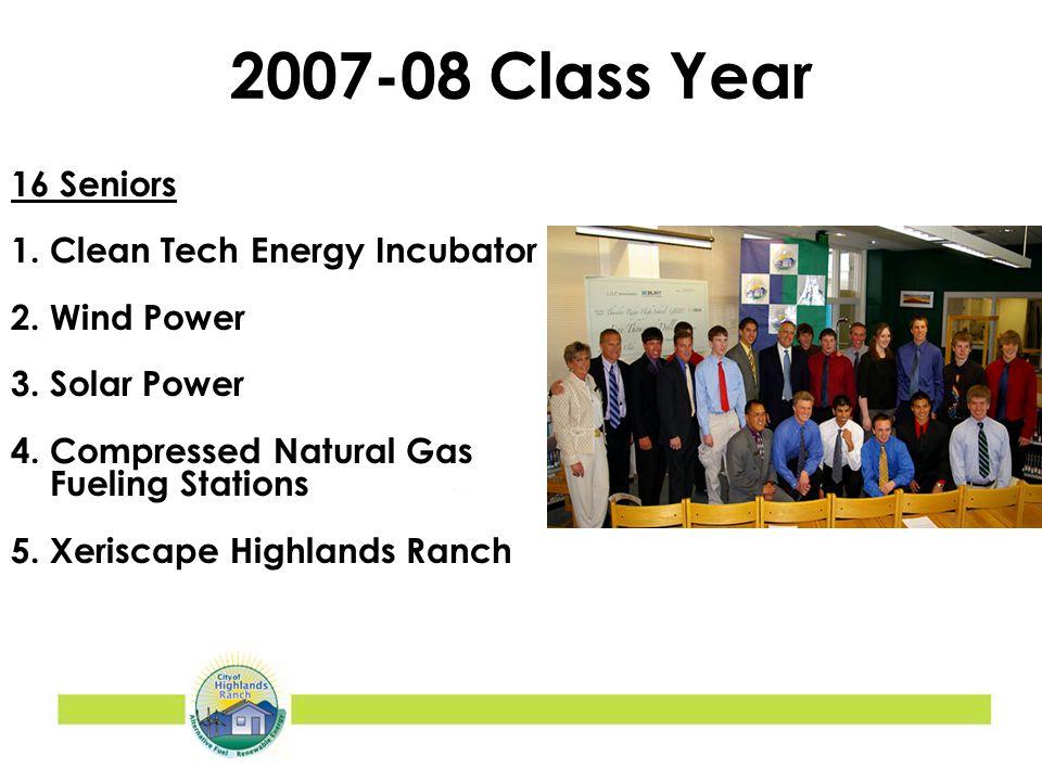 2007-08 Class Year 16 Seniors 1. Clean Tech Energy Incubator 2.