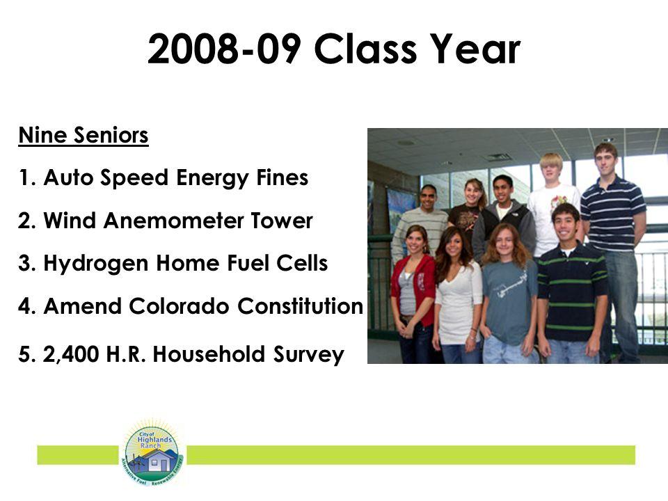 2008-09 Class Year Nine Seniors 1. Auto Speed Energy Fines 2.