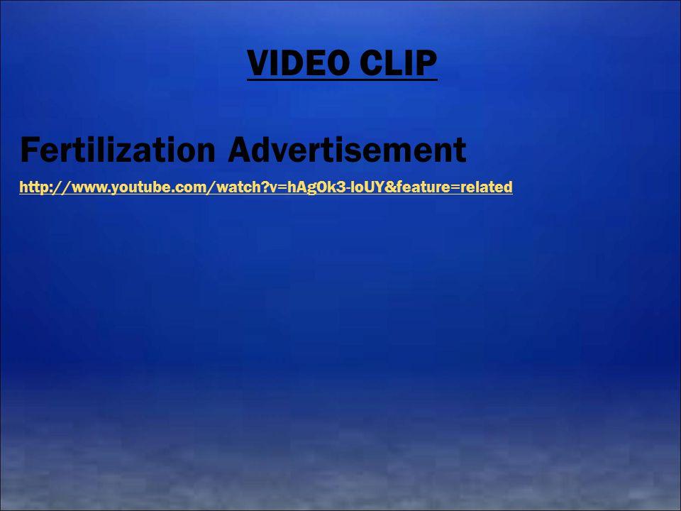 VIDEO CLIP Fertilization Advertisement http://www.youtube.com/watch?v=hAgOk3-loUY&feature=related