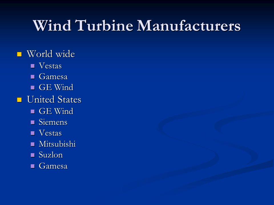 Wind Turbine Manufacturers World wide World wide Vestas Vestas Gamesa Gamesa GE Wind GE Wind United States United States GE Wind GE Wind Siemens Siemens Vestas Vestas Mitsubishi Mitsubishi Suzlon Suzlon Gamesa Gamesa