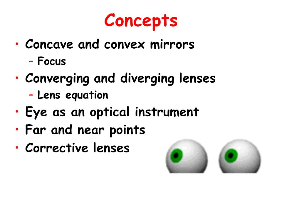Sign convention for lenses and mirrors d 0 >0 h 0 >0 d i >0 – real image Opposite side from O d i <0 - virtual image Same side with O h i >0 – upright imageh i <0 - inverted image f>0 – concave mirrorf<0 – convex mirror f>0 – converging lensf<0 – diverging lens h i >0  d i <0 – upright image is always virtual h i 0 – inverted image is always real