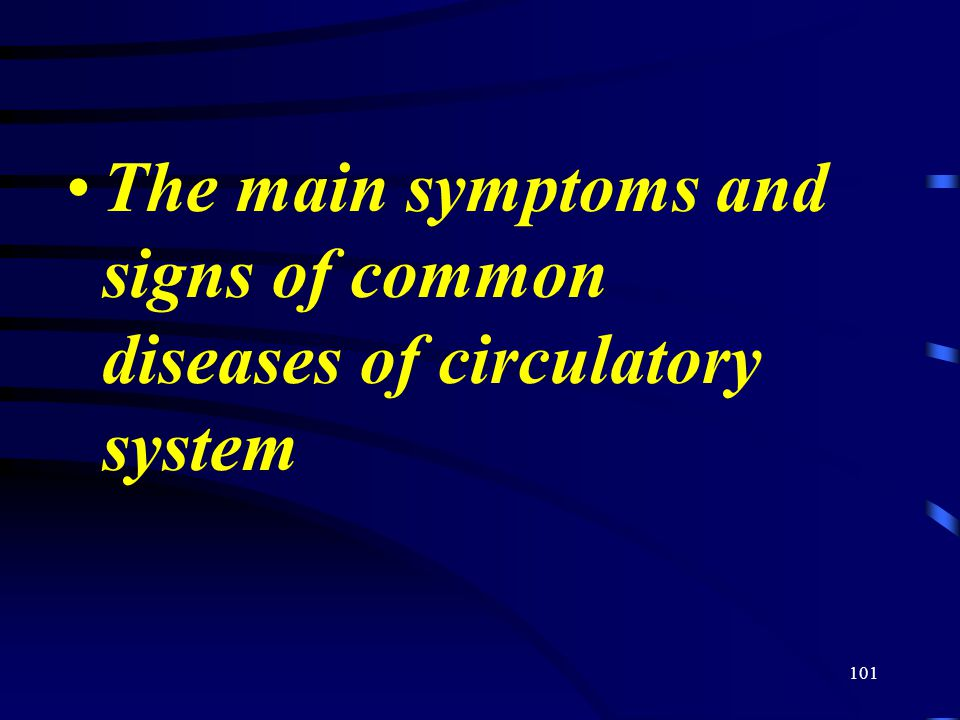 101 The main symptoms and signs of common diseases of circulatory system