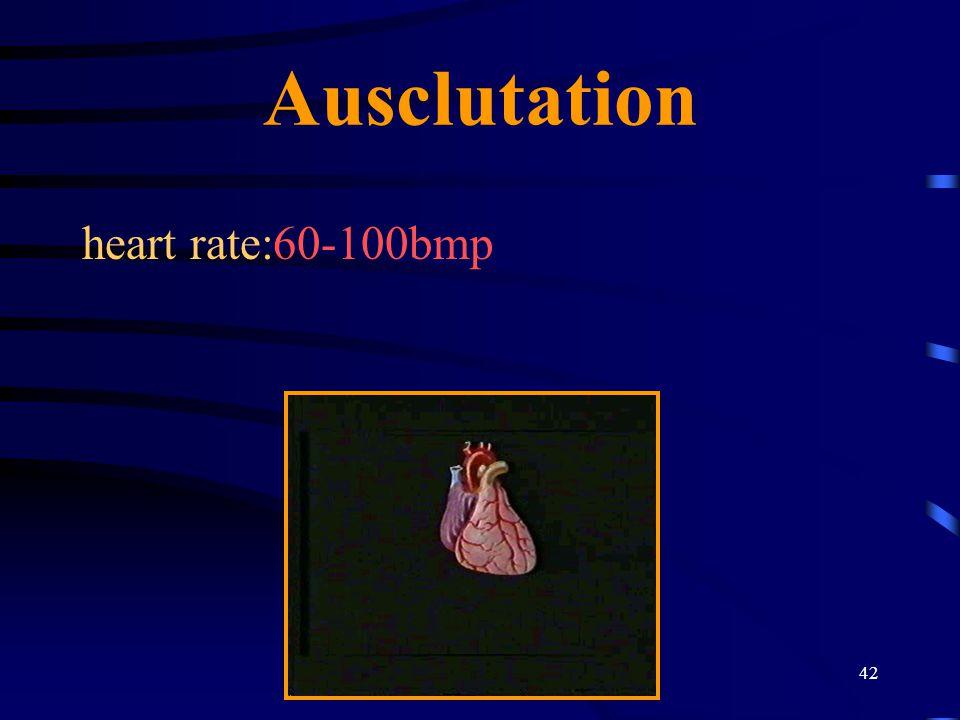42 Ausclutation heart rate:60-100bmp