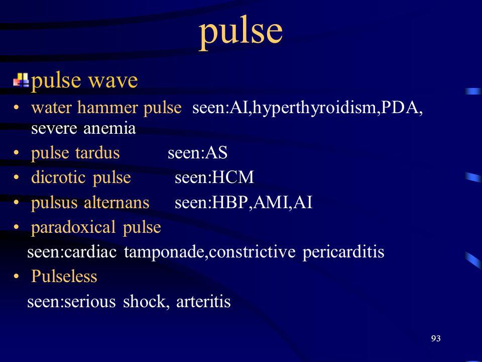 93 pulse pulse wave water hammer pulse seen:AI,hyperthyroidism,PDA, severe anemia pulse tardus seen:AS dicrotic pulse seen:HCM pulsus alternans seen:HBP,AMI,AI paradoxical pulse seen:cardiac tamponade,constrictive pericarditis Pulseless seen:serious shock, arteritis