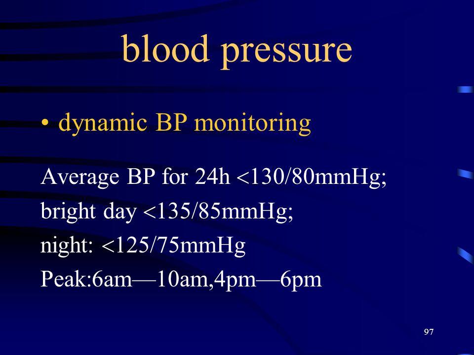 97 blood pressure dynamic BP monitoring Average BP for 24h  130/80mmHg; bright day  135/85mmHg; night:  125/75mmHg Peak:6am—10am,4pm—6pm