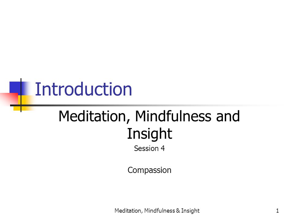 Meditation, Mindfulness & Insight1 Introduction Meditation, Mindfulness and Insight Session 4 Compassion