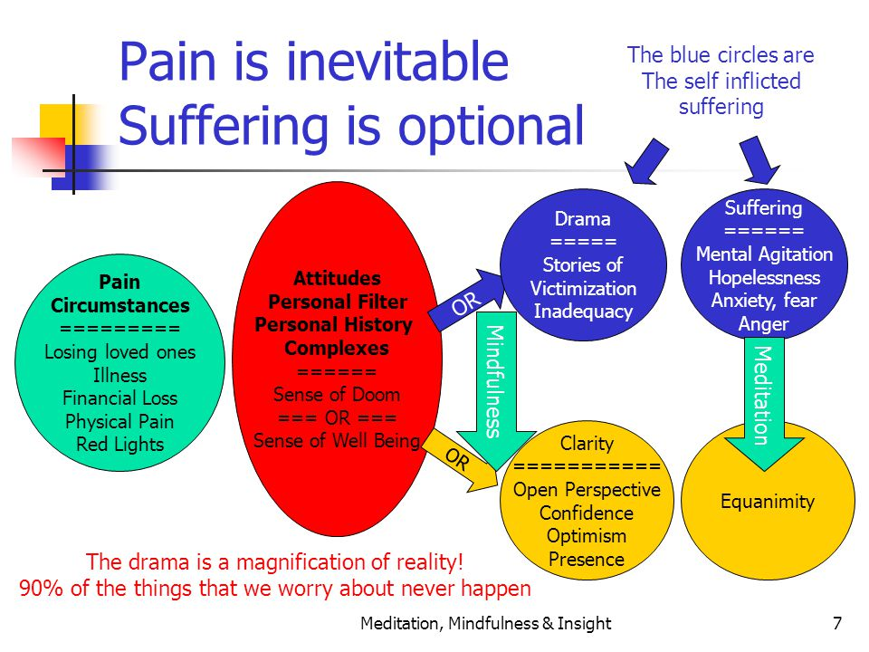 Meditation, Mindfulness & Insight7 Pain is inevitable Suffering is optional Pain Circumstances ========= Losing loved ones Illness Financial Loss Phys