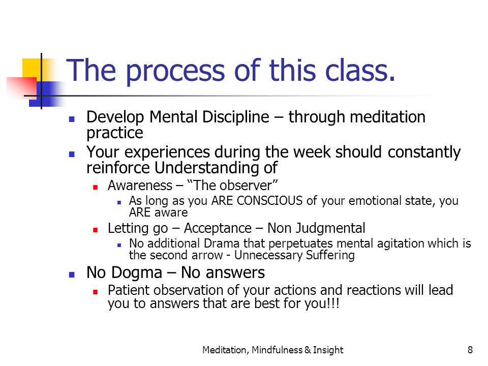 Meditation, Mindfulness & Insight8 The process of this class. Develop Mental Discipline – through meditation practice Your experiences during the week