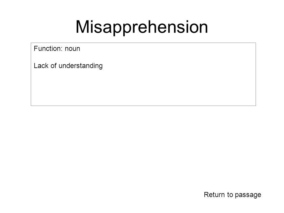 Misapprehension Function: noun Lack of understanding Return to passage