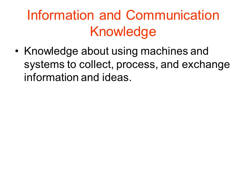 Energy Knowledge Knowledge about using machines and systems to convert, transmit, and apply energy.