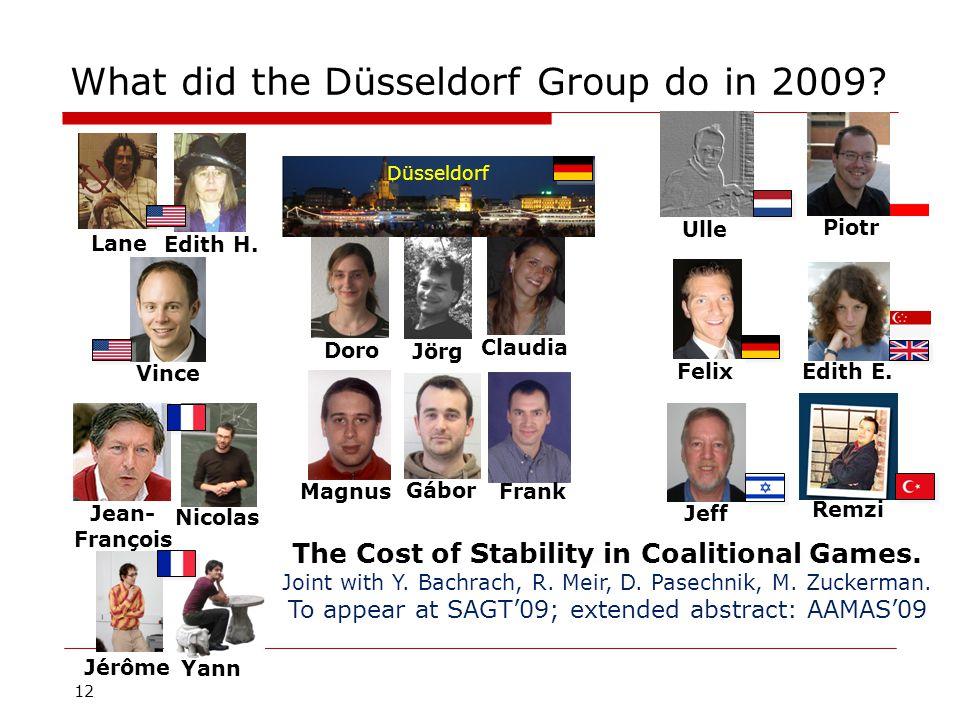 12 What did the Düsseldorf Group do in 2009. Magnus Jörg Gábor Frank Doro Edith E.