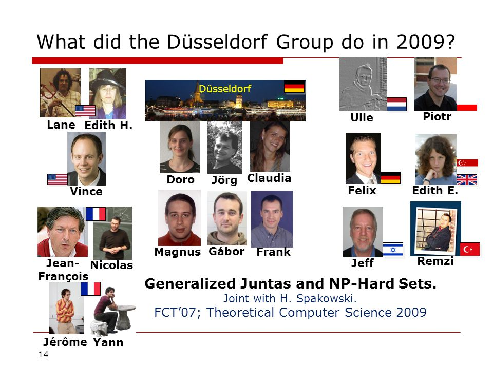 14 What did the Düsseldorf Group do in 2009.