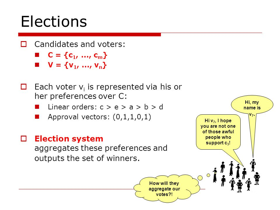 Elections  Candidates and voters: C = {c 1,..., c m } V = {v 1,..., v n }  Each voter v i is represented via his or her preferences over C: Linear orders: c > e > a > b > d Approval vectors: (0,1,1,0,1)  Election system aggregates these preferences and outputs the set of winners.