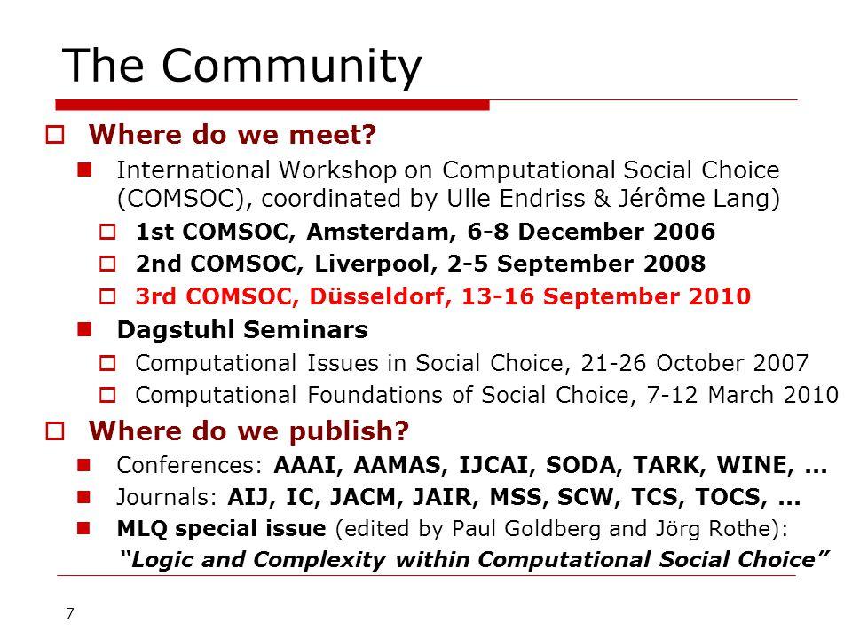 7 The Community  Where do we meet.