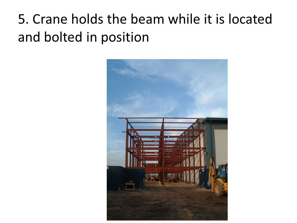 5. Crane holds the beam while it is located and bolted in position
