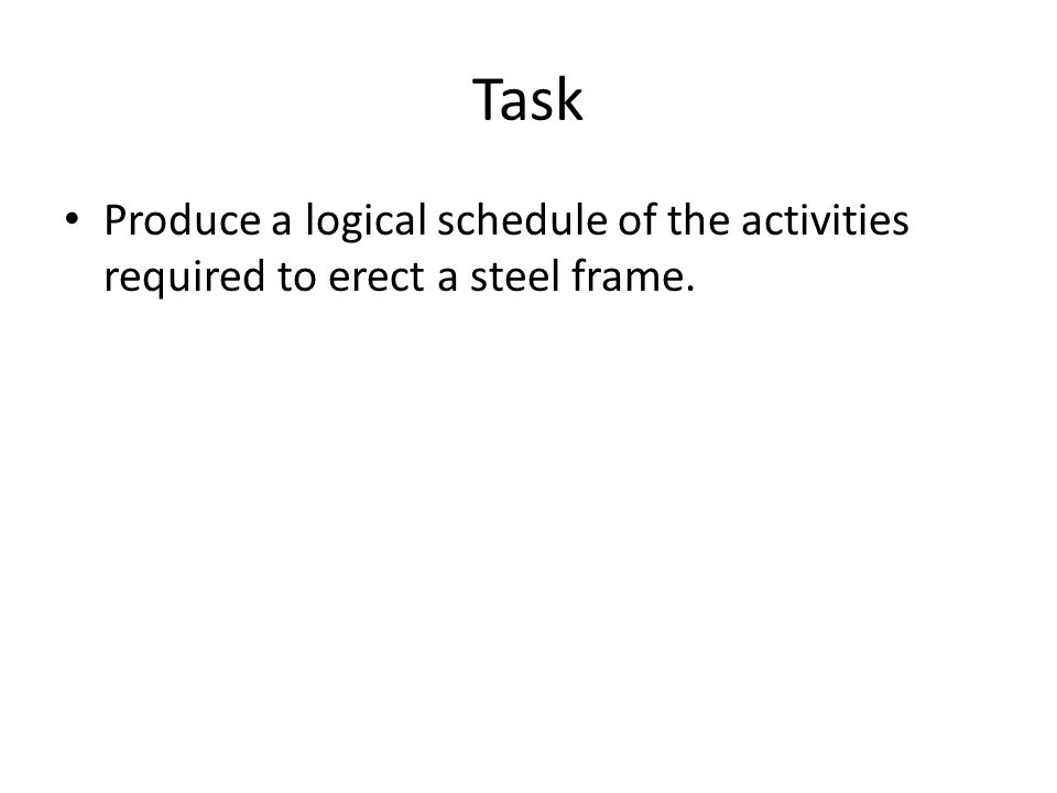 Task Produce a logical schedule of the activities required to erect a steel frame.