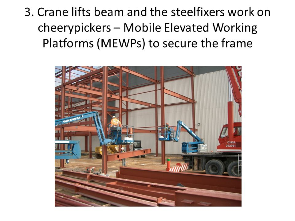 3. Crane lifts beam and the steelfixers work on cheerypickers – Mobile Elevated Working Platforms (MEWPs) to secure the frame