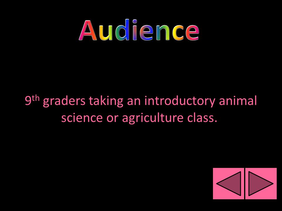 9 th graders taking an introductory animal science or agriculture class.