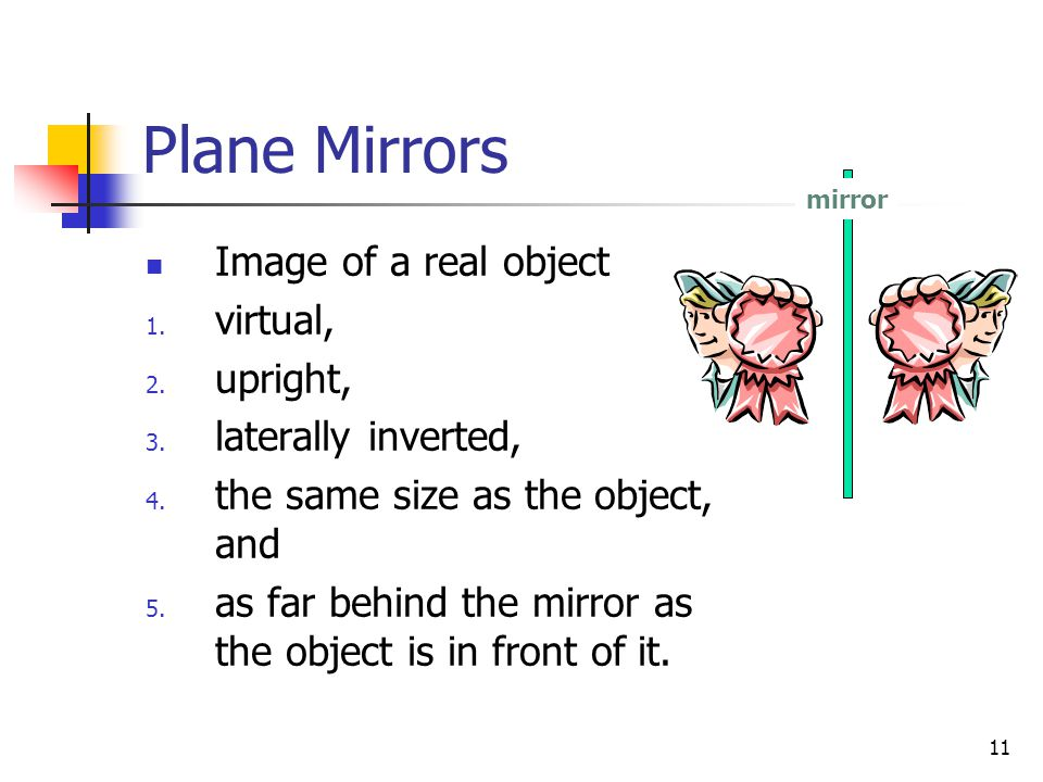 11 Plane Mirrors Image of a real object 1.virtual, 2.