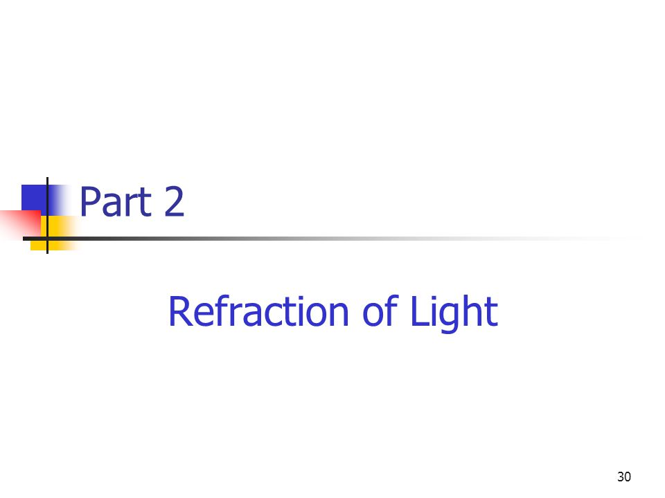 30 Part 2 Refraction of Light
