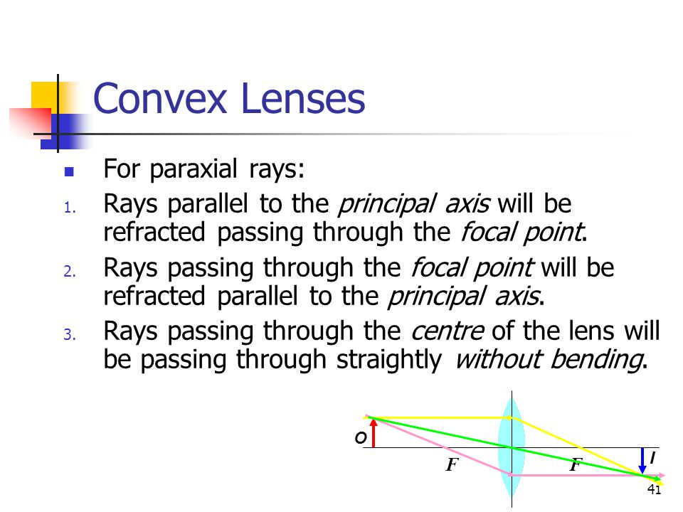 41 Convex Lenses For paraxial rays: 1.