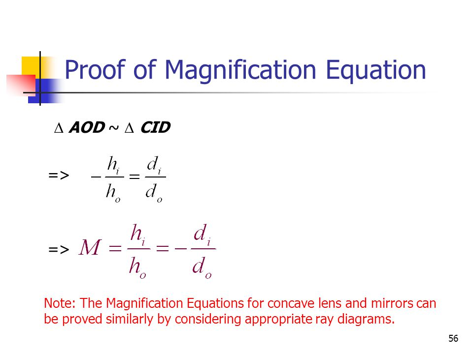 56  AOD ~  CID => Proof of Magnification Equation Note: The Magnification Equations for concave lens and mirrors can be proved similarly by considering appropriate ray diagrams.