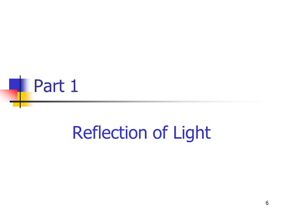 6 Part 1 Reflection of Light