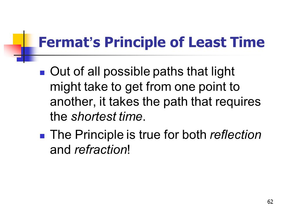 62 Fermat ' s Principle of Least Time Out of all possible paths that light might take to get from one point to another, it takes the path that requires the shortest time.