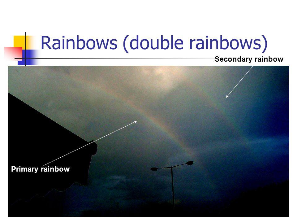 84 Rainbows (double rainbows) Primary rainbow Secondary rainbow