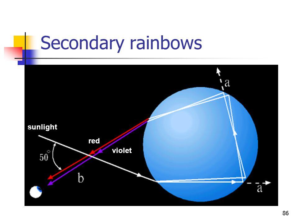 86 Secondary rainbows sunlight red violet