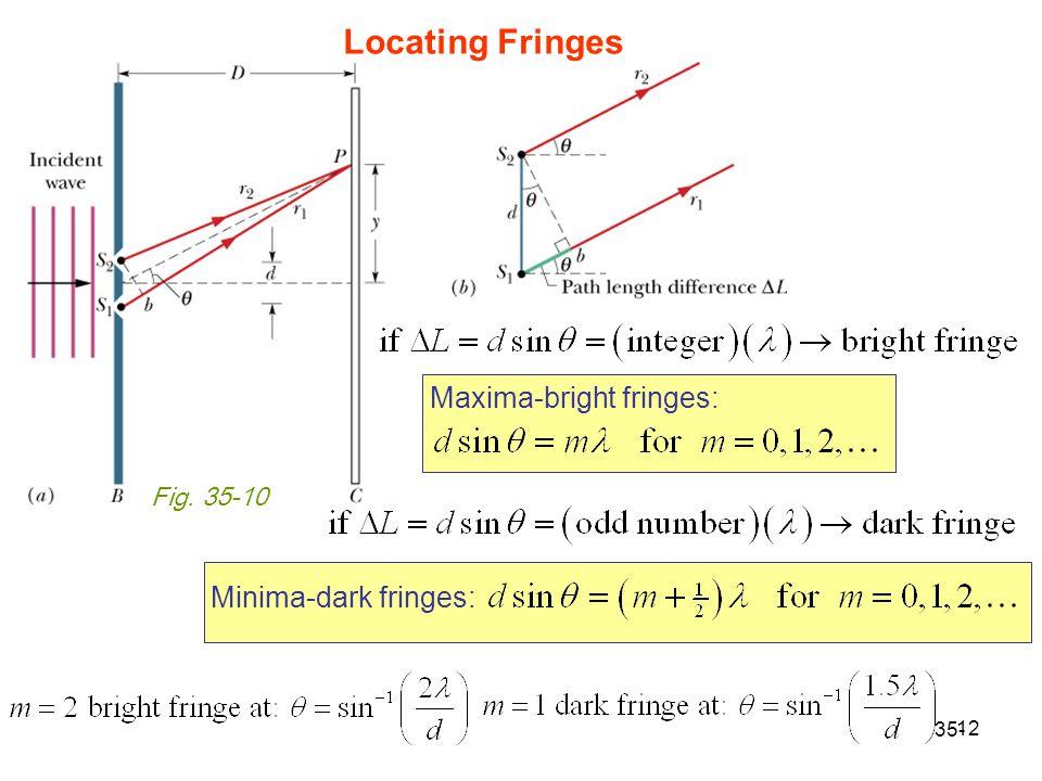 12 35- Fig. 35-10 Maxima-bright fringes: Minima-dark fringes: Locating Fringes