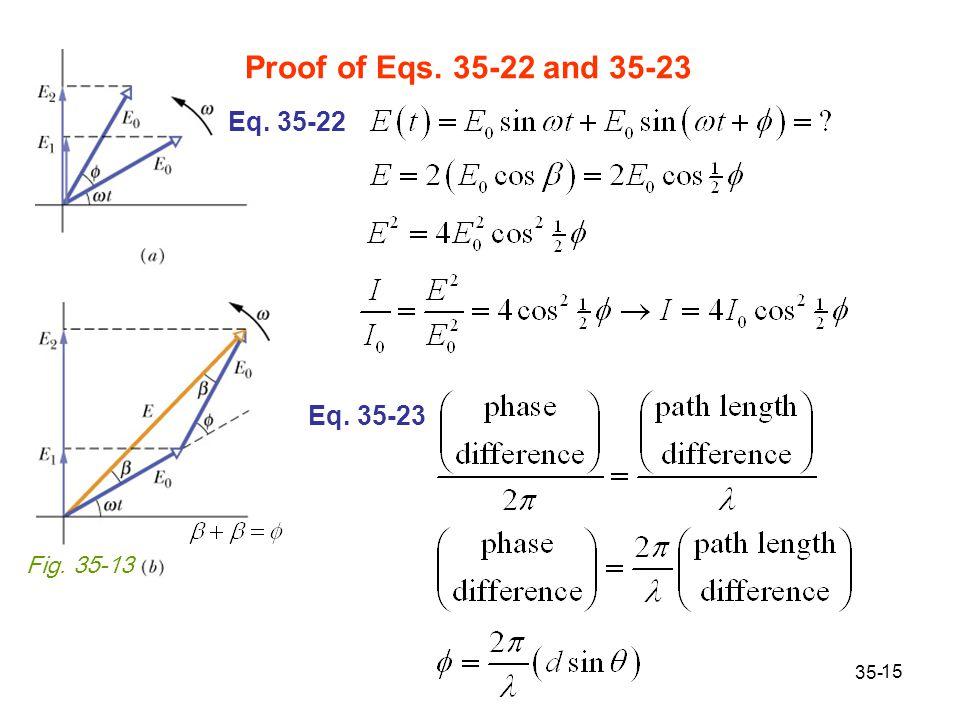 15 Fig. 35-13 Proof of Eqs. 35-22 and 35-23 35- Eq. 35-22 Eq. 35-23