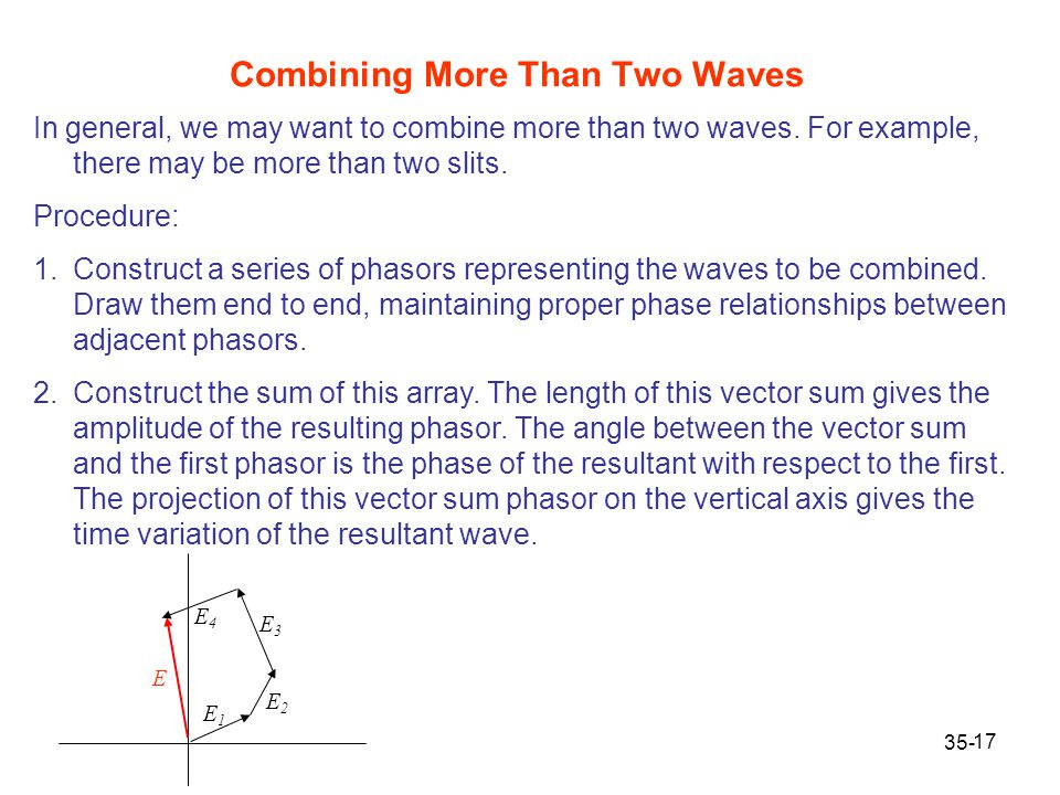 17 In general, we may want to combine more than two waves. For example, there may be more than two slits. Procedure: 1.Construct a series of phasors r