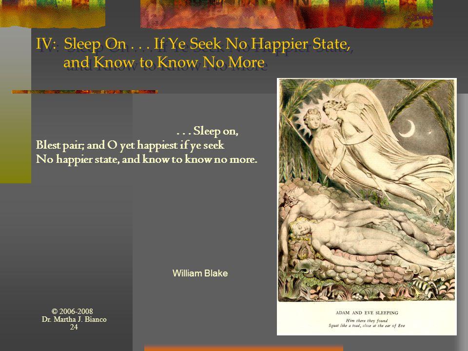 © 2006-2008 Dr. Martha J. Bianco 24 IV: Sleep On...