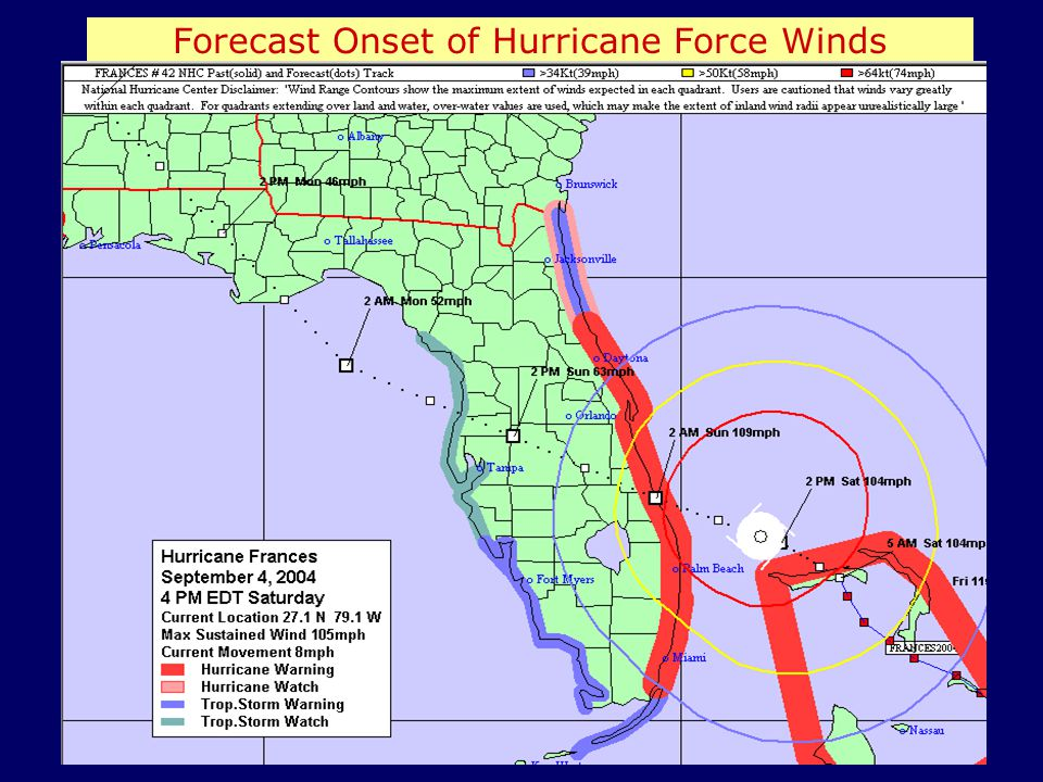 Forecast Onset of Hurricane Force Winds