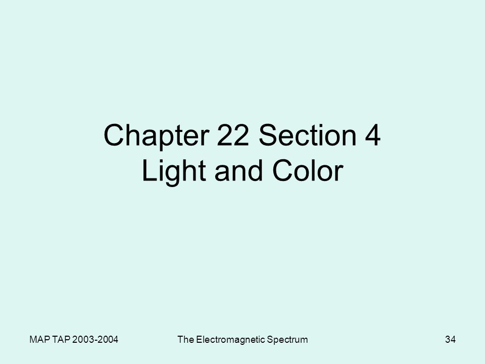 MAP TAP 2003-2004The Electromagnetic Spectrum33 Reflection Reflection – Bouncing back of light waves –Regular reflection – mirrors smooth surfaces sca