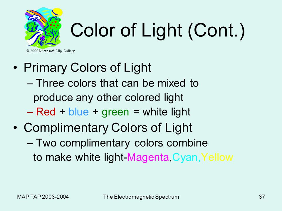 MAP TAP 2003-2004The Electromagnetic Spectrum36 Color of Light (Cont.) Color of Objects –White light is the presence of ALL the colors of the visible spectrum.