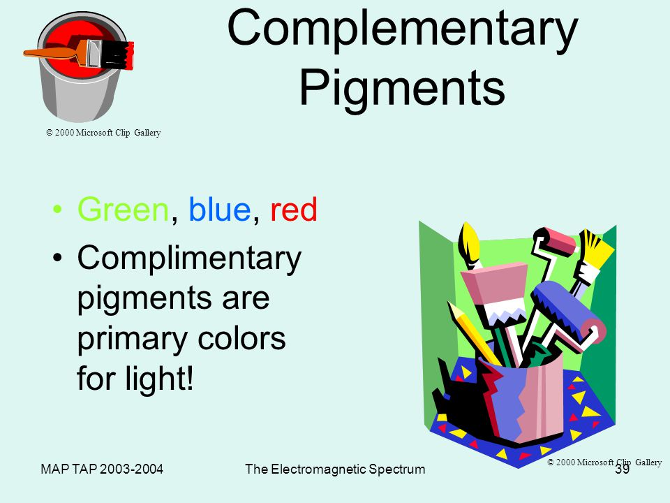 MAP TAP 2003-2004The Electromagnetic Spectrum38 Paint Pigments –Pigments absorb the frequency of light that you see –Primary pigments Yellow + cyan + magenta = black Primary pigments are compliments of the primary colors of light.