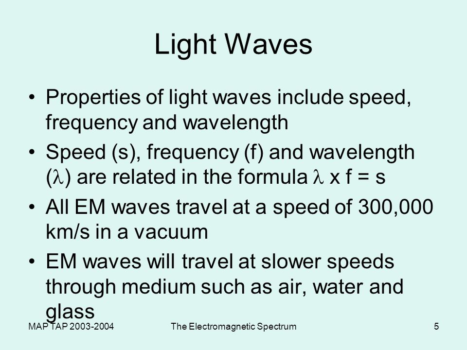 MAP TAP 2003-2004The Electromagnetic Spectrum4 LIGHT: Particles or Waves.