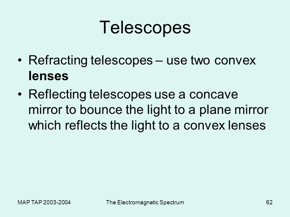 MAP TAP 2003-2004The Electromagnetic Spectrum61 LIGHT & USES: Optical Instruments Cameras Telescopes Microscopes © 2000 Microsoft Clip Gallery